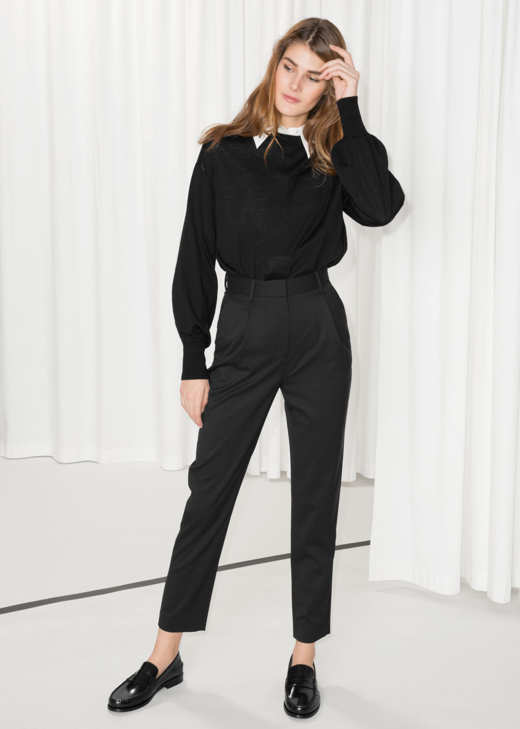 Model front image of Stories high waisted tapered trousers in black