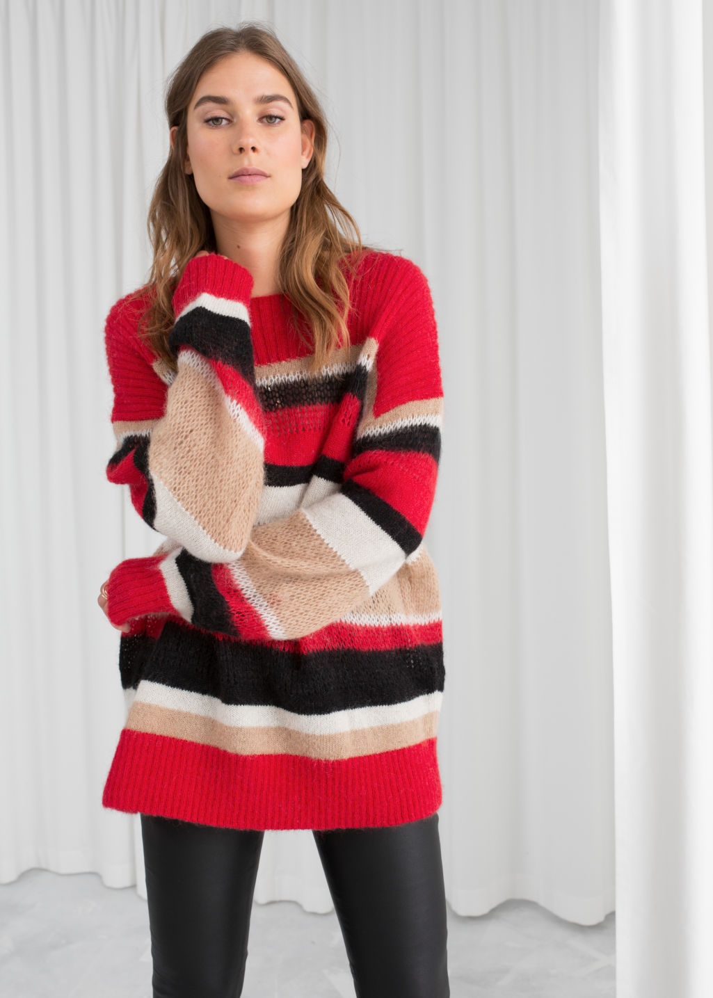 Model front image of Stories mohair blend striped sweater in red