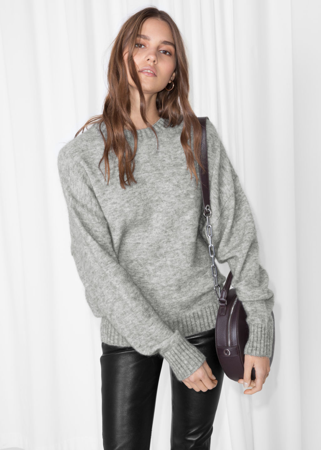 Model front image of Stories wool blend sweater in grey