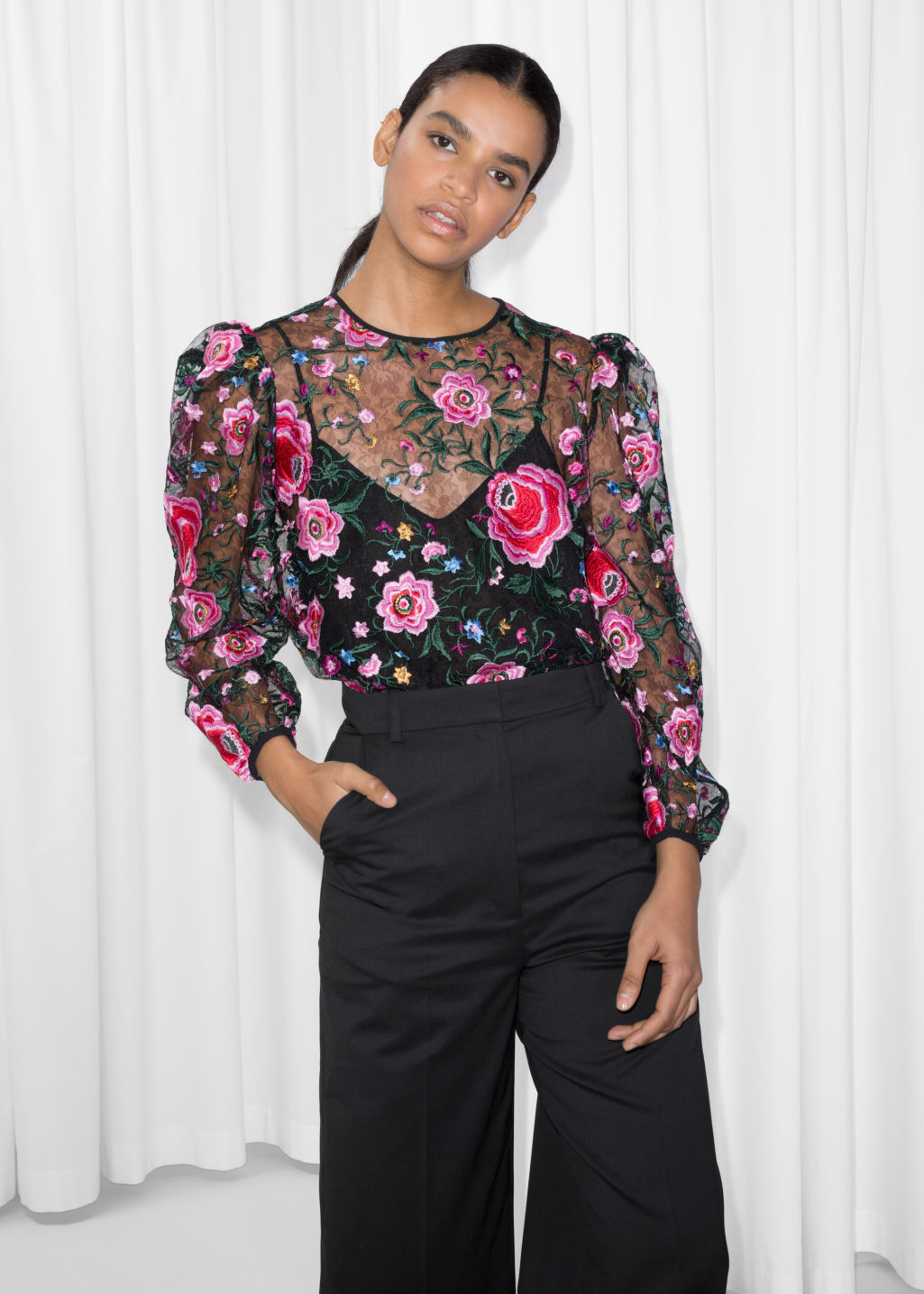 Model front image of Stories puff sleeve blouse in black