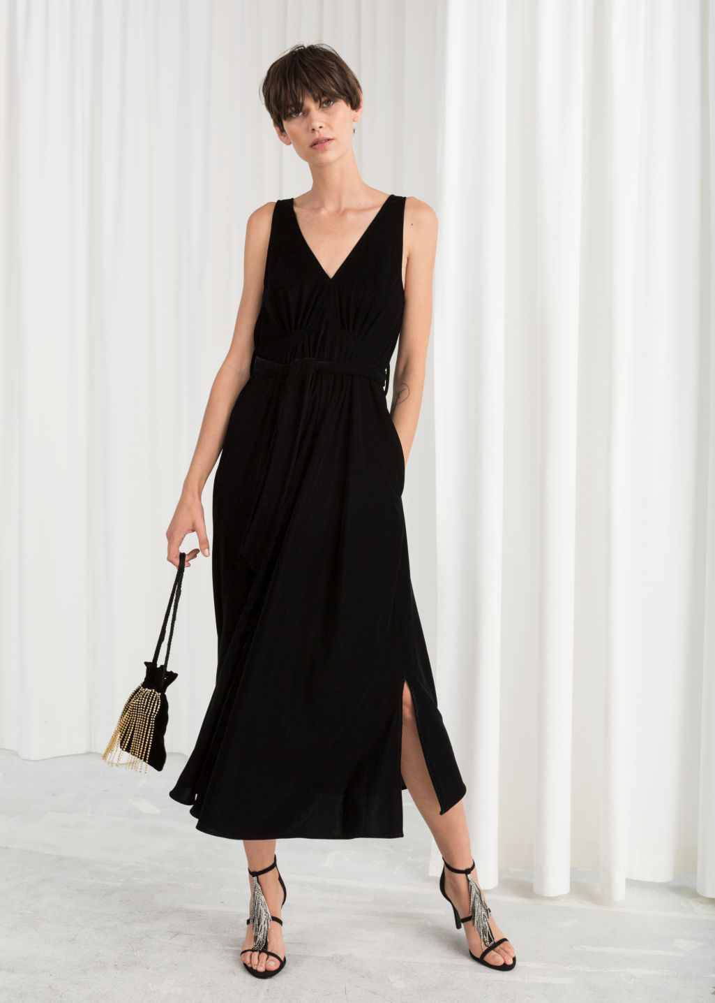 Model front image of Stories velvet dress in black