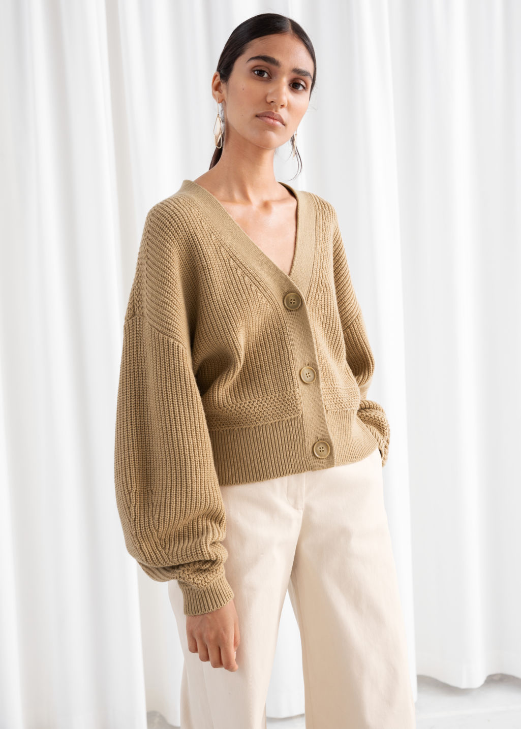 Cropped Cardigan Camel Cardigans & Other Stories