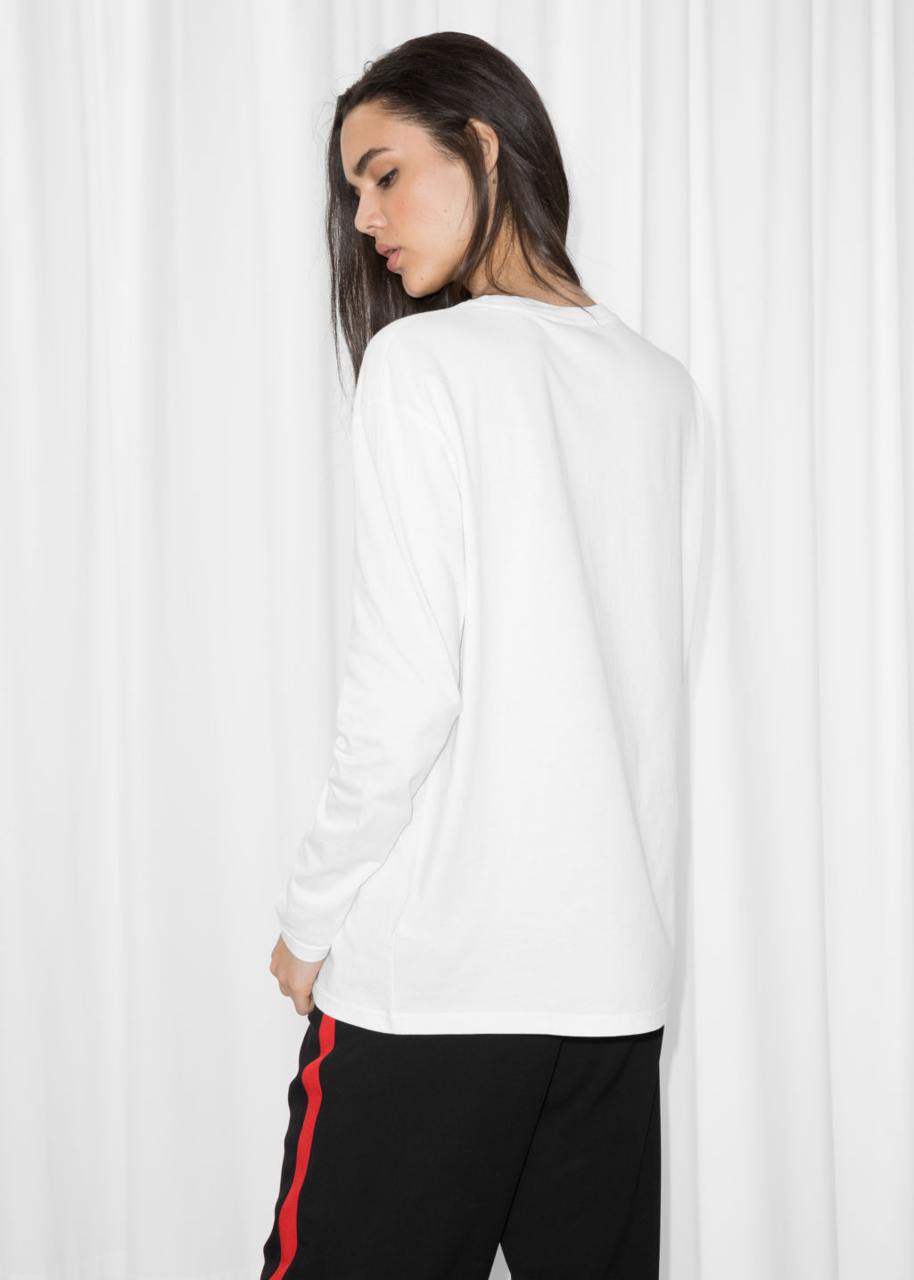 Model back image of Stories superhero top in white