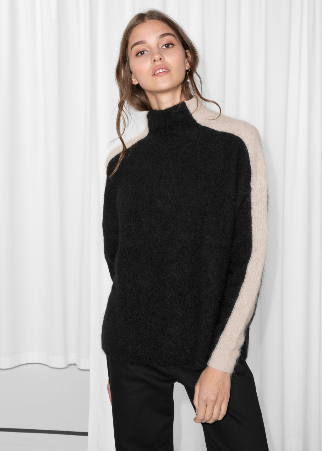 Model front image of Stories contrasting racer stripe sweater  in black