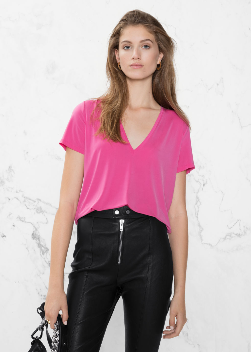 Model front image of Stories v-neck cupro top in pink