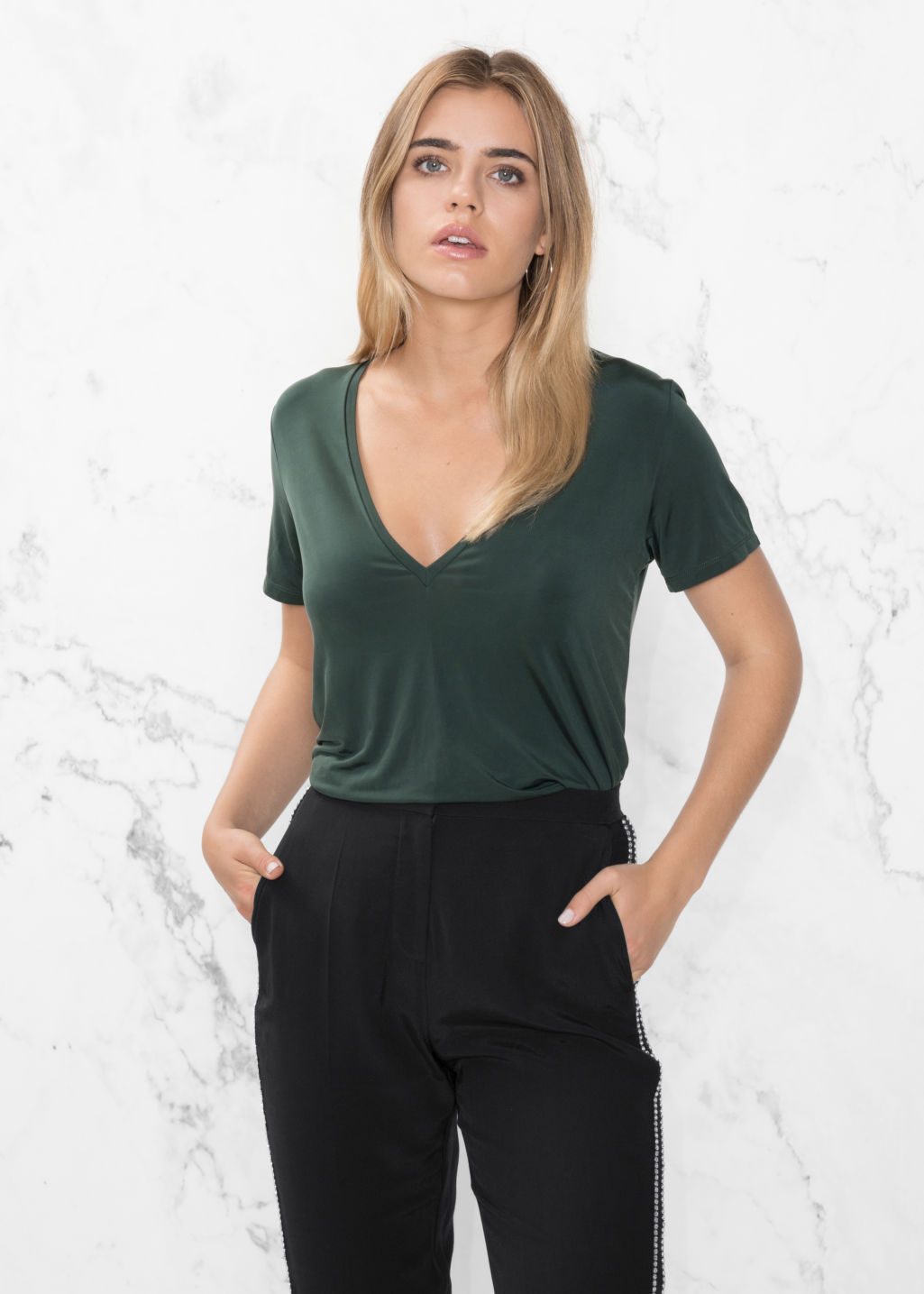 Model front image of Stories v-neck cupro top in green