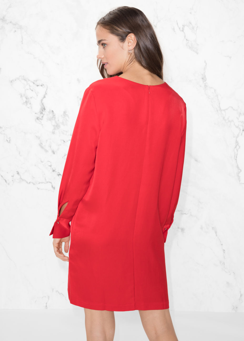 Model back image of Stories metal bar detail dress in red