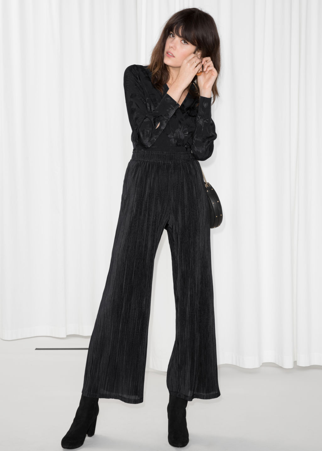 Model front image of Stories high waisted pleated trousers in black
