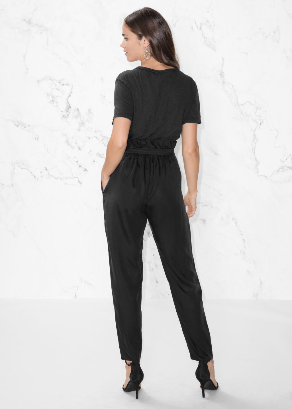 Model back image of Stories paperbag waist trousers in black