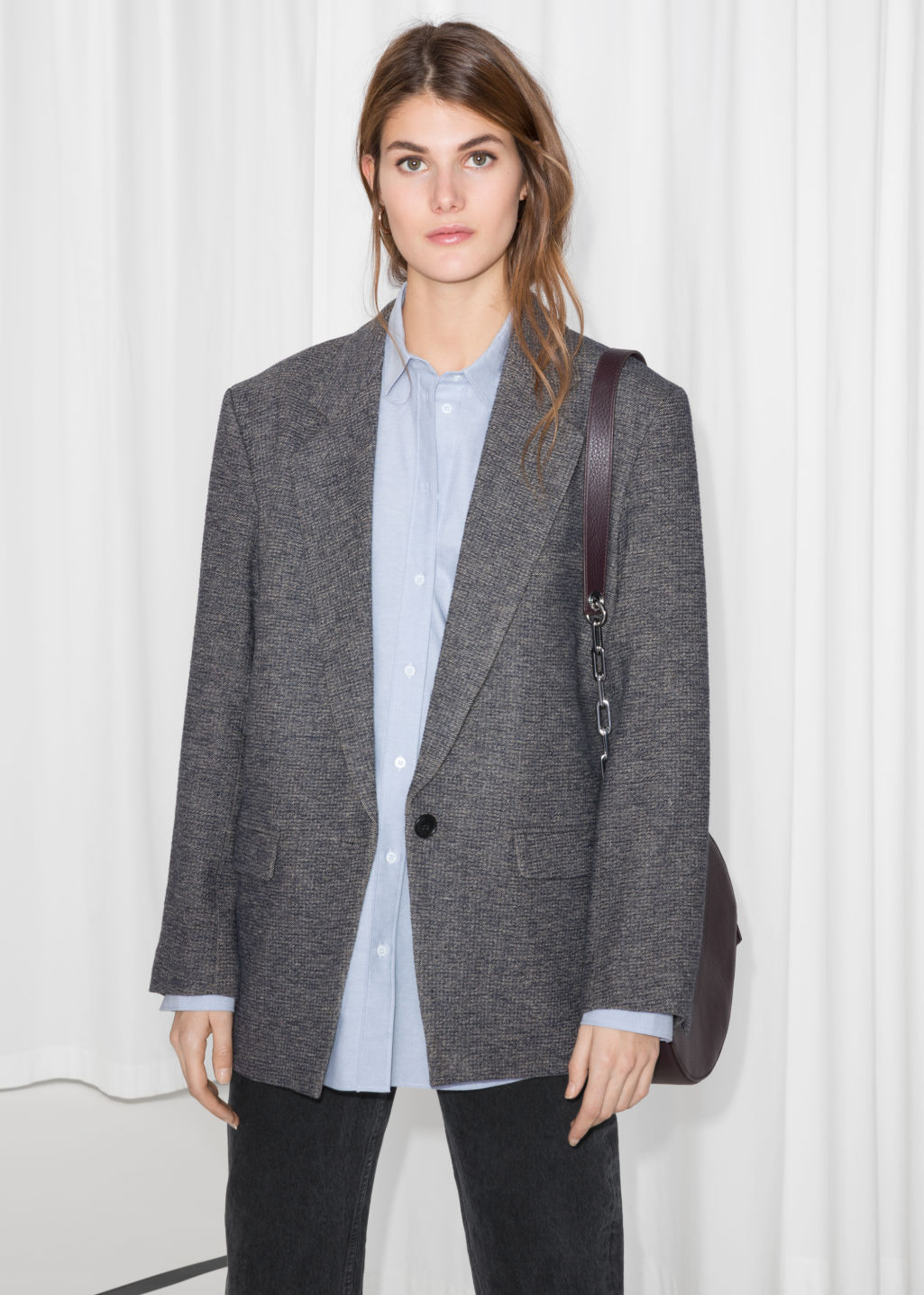 Model front image of Stories oversized blazer in blue