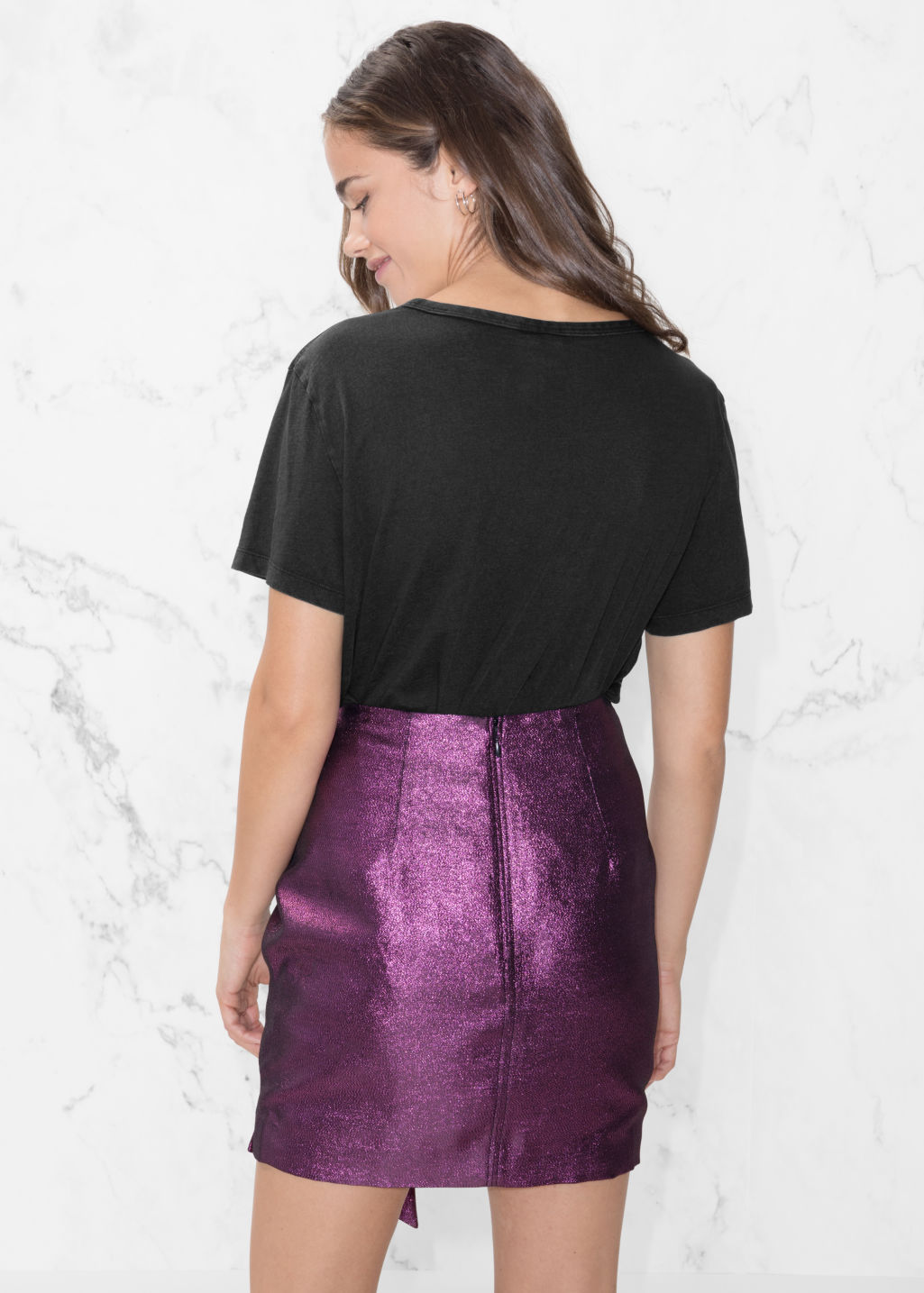 Model back image of Stories metallic skirt with side tie in purple