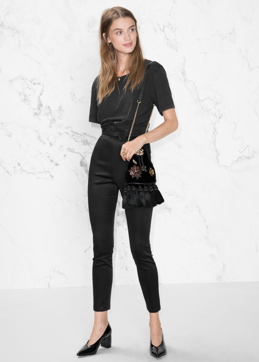 Model front image of Stories high waist satin trousers in black