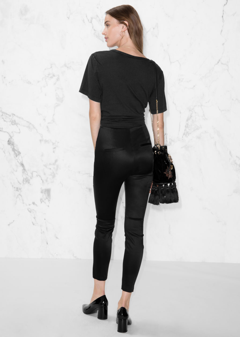 Model back image of Stories high waist satin trousers in black