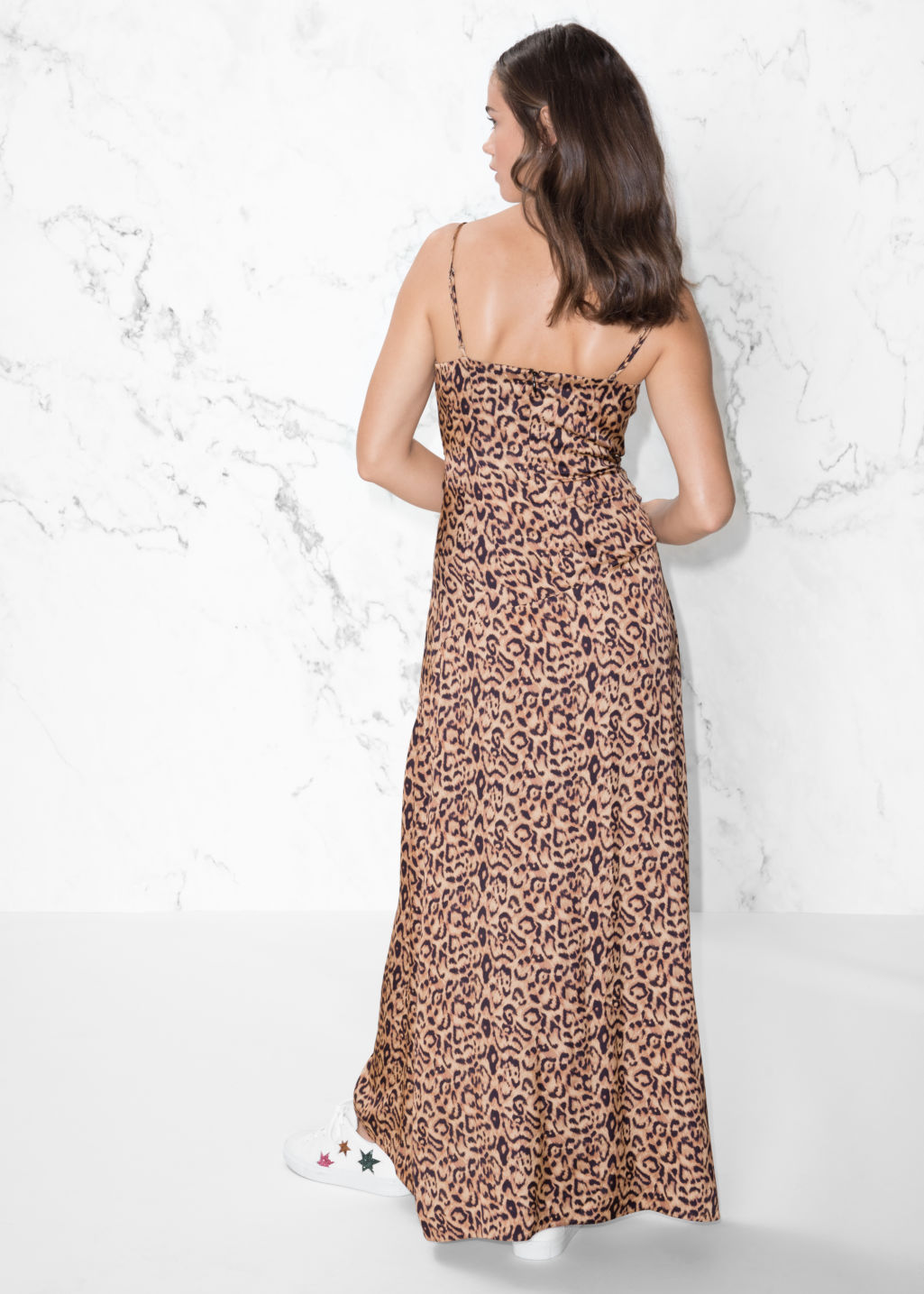 Model back image of Stories leo thin strap dress in beige