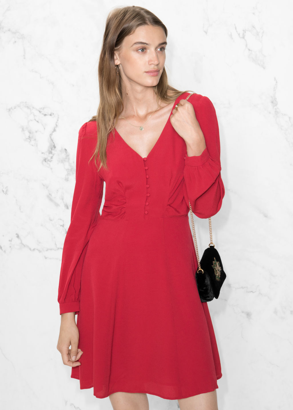 Model front image of Stories a-line dress in red