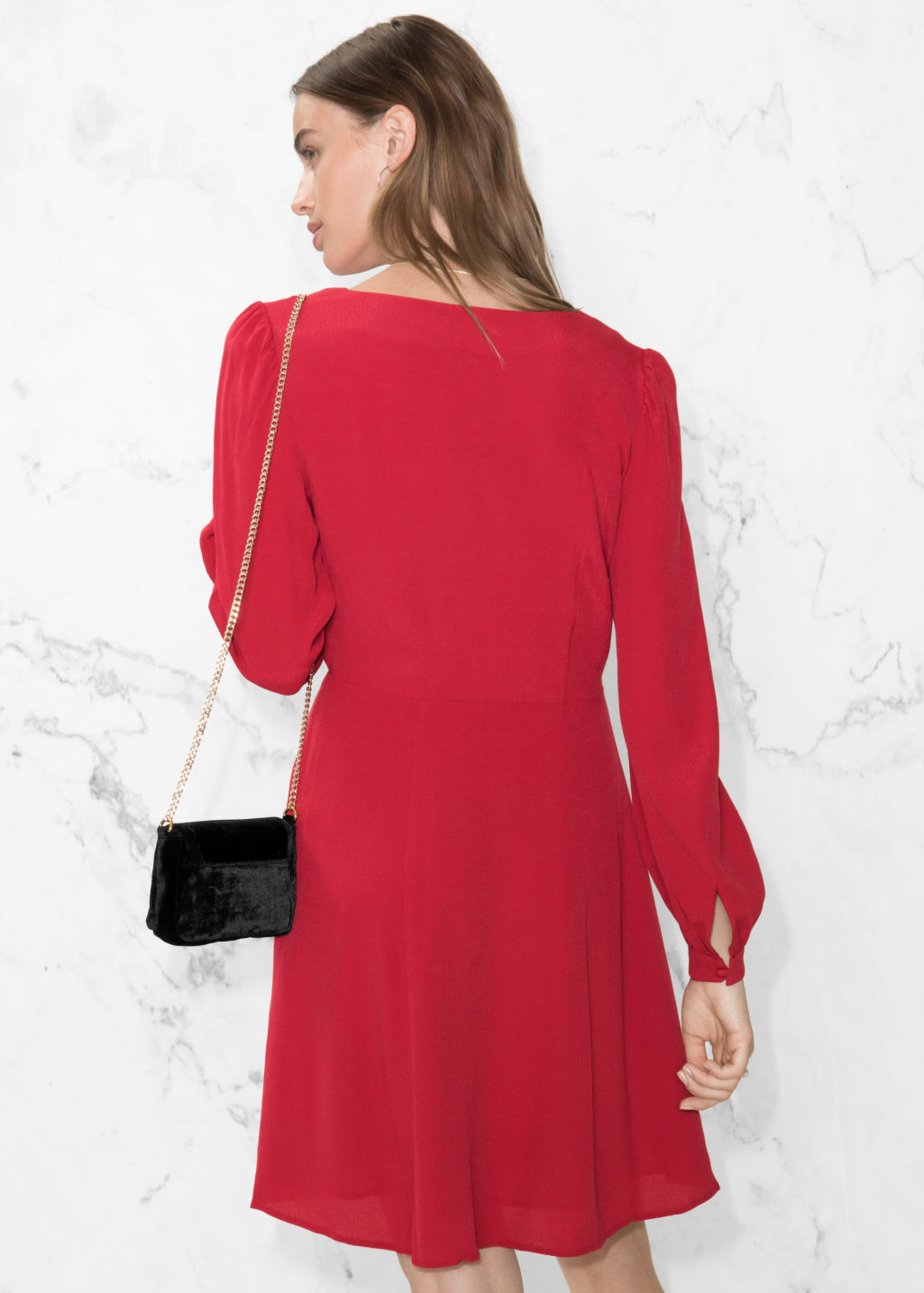 Model back image of Stories a-line dress in red