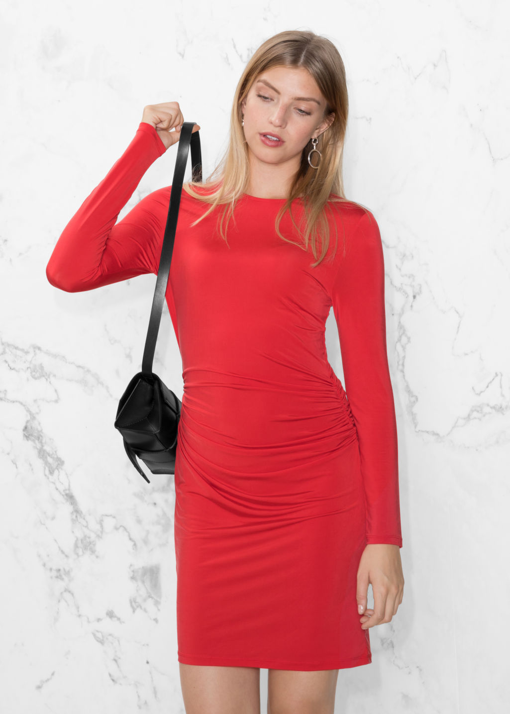 Model front image of Stories draped mini dress in red