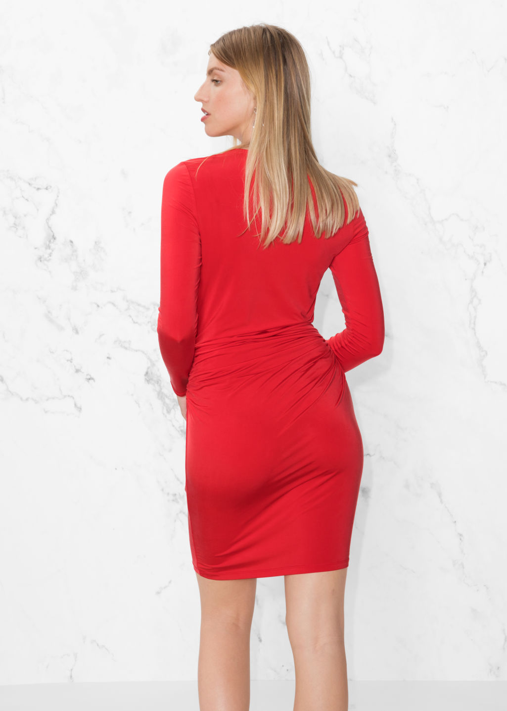 Model back image of Stories draped mini dress in red