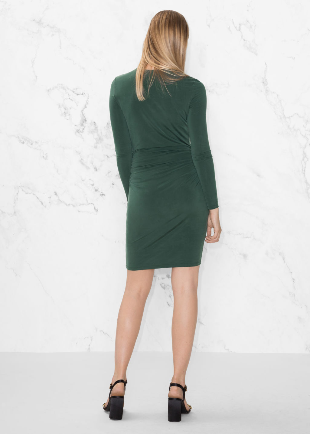 Model back image of Stories draped mini dress in green