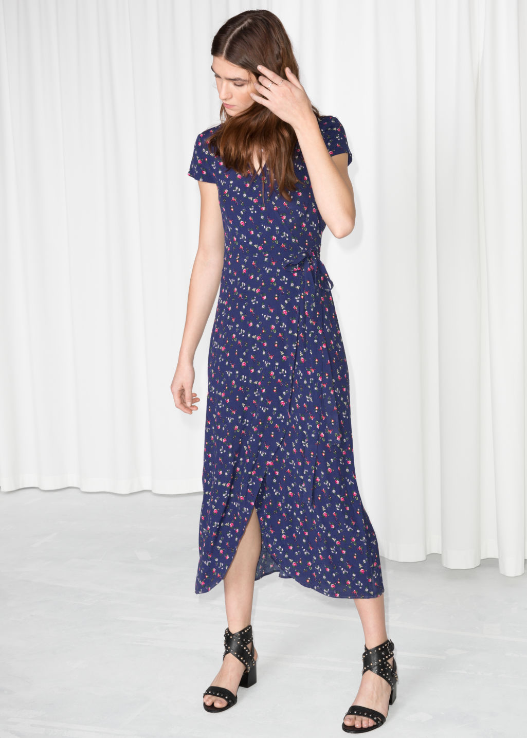 Model front image of Stories wrap dress in blue