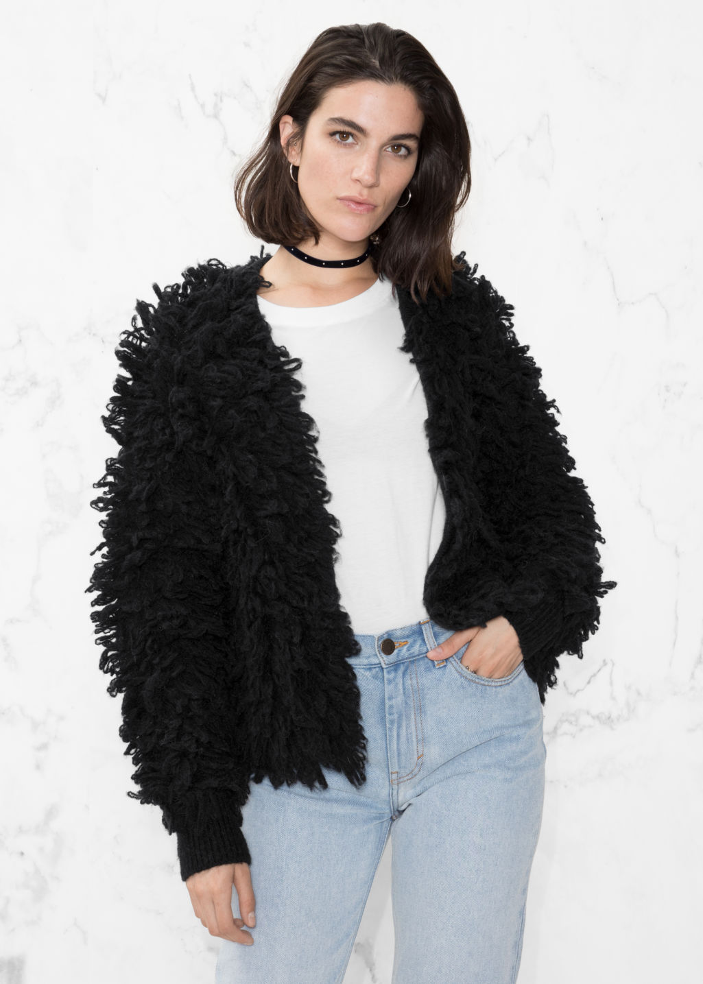 Model front image of Stories shaggy wool-blend knit in black