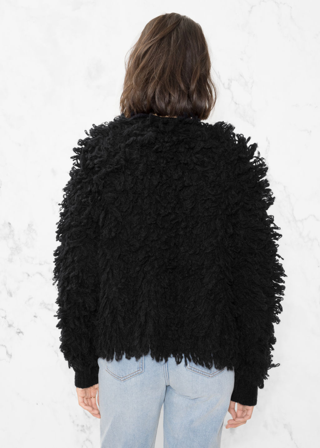 Model back image of Stories shaggy wool-blend knit in black