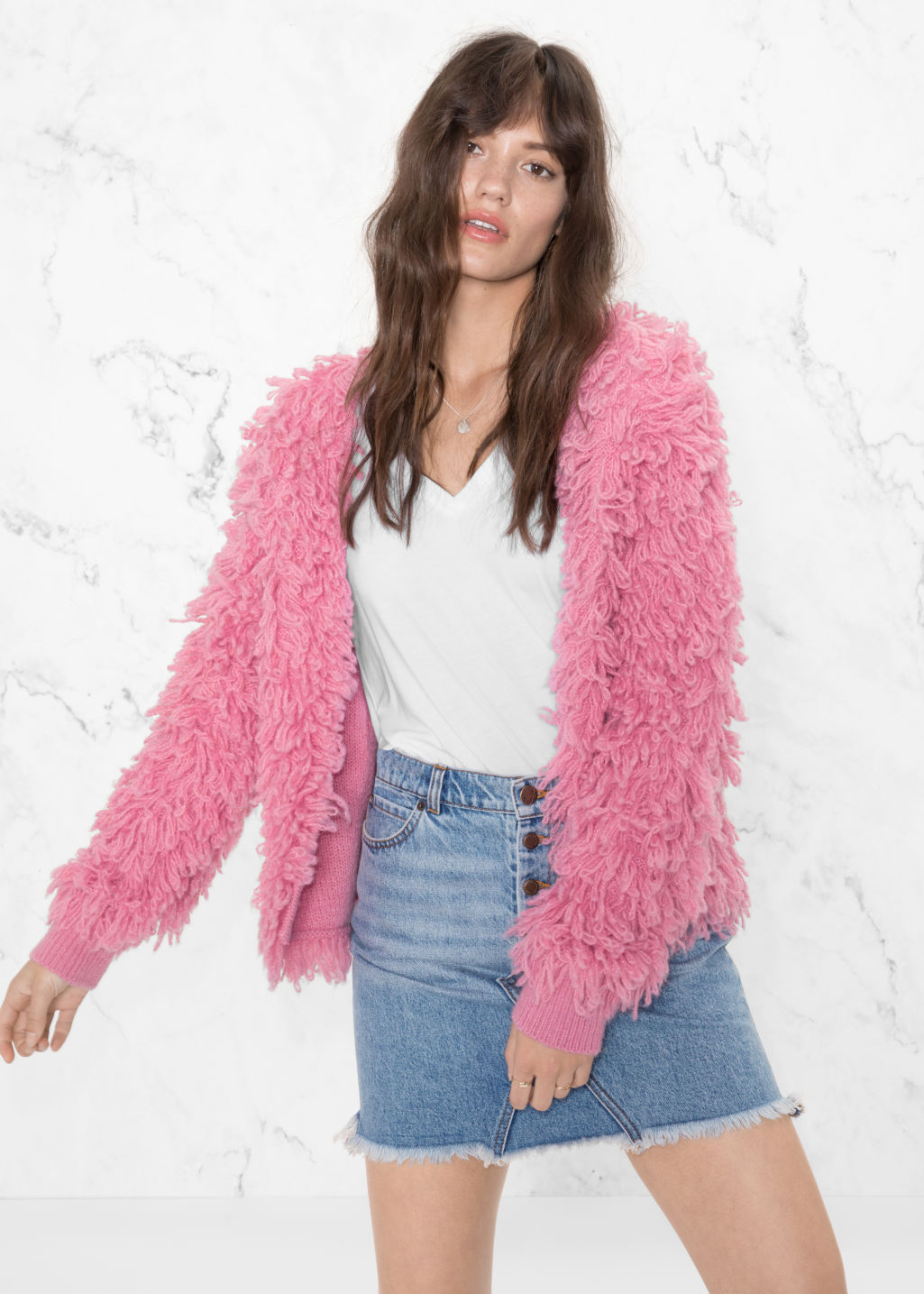 Model front image of Stories shaggy wool-blend knit in pink