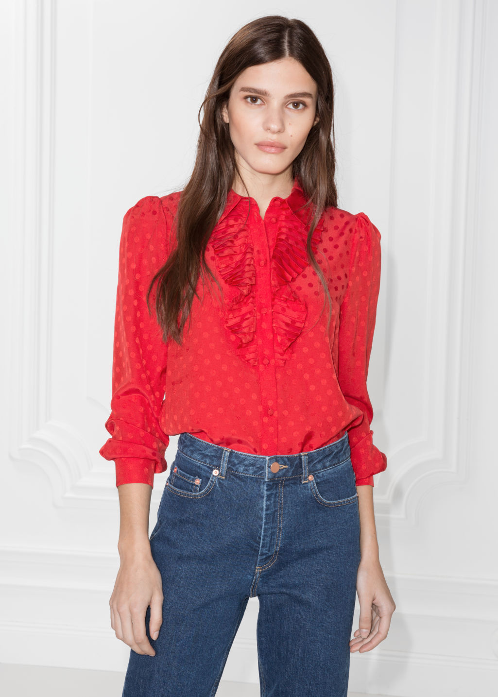 Model front image of Stories ascot ruffle blouse in red