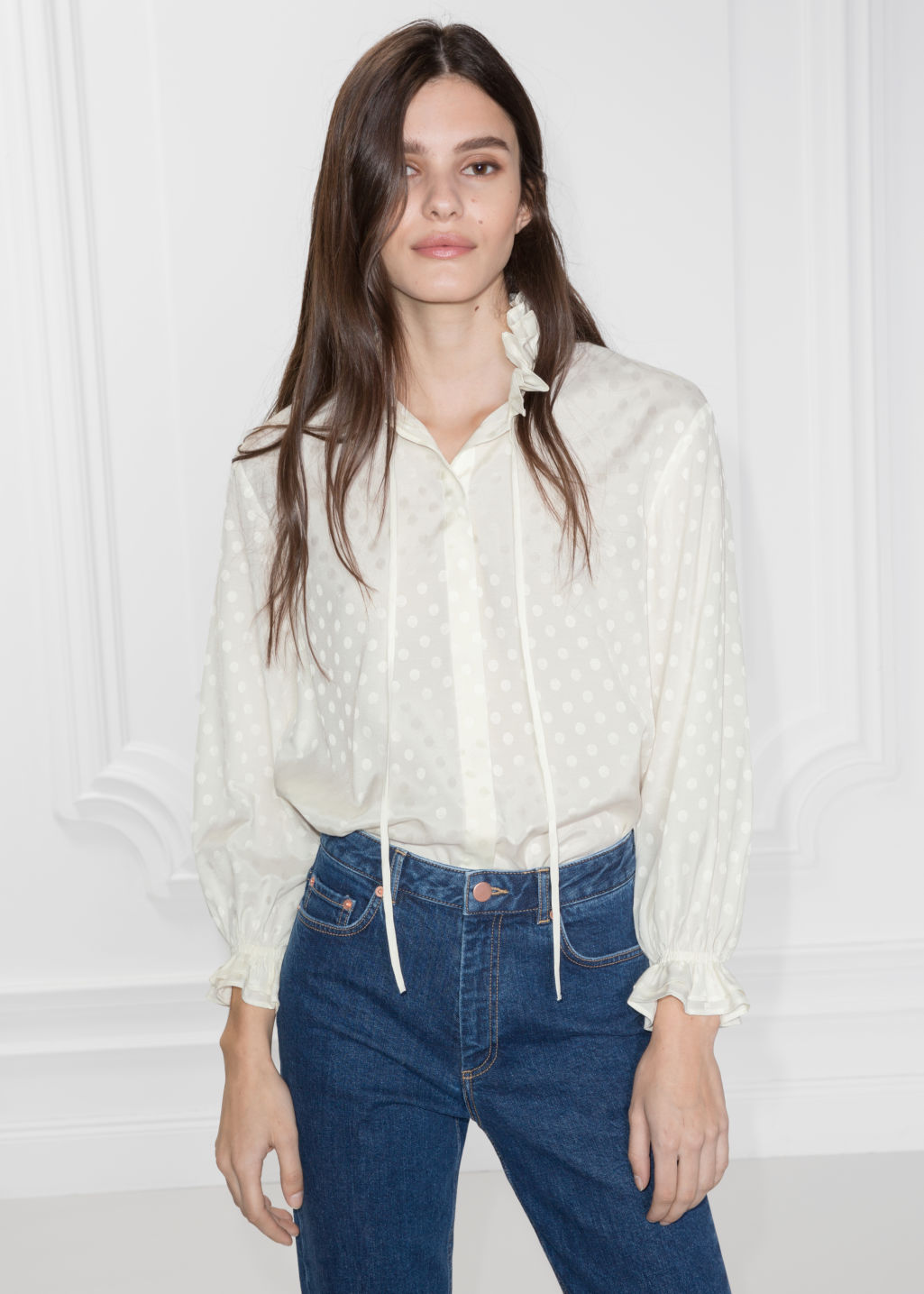 Model front image of Stories ruffle collar blouse in white