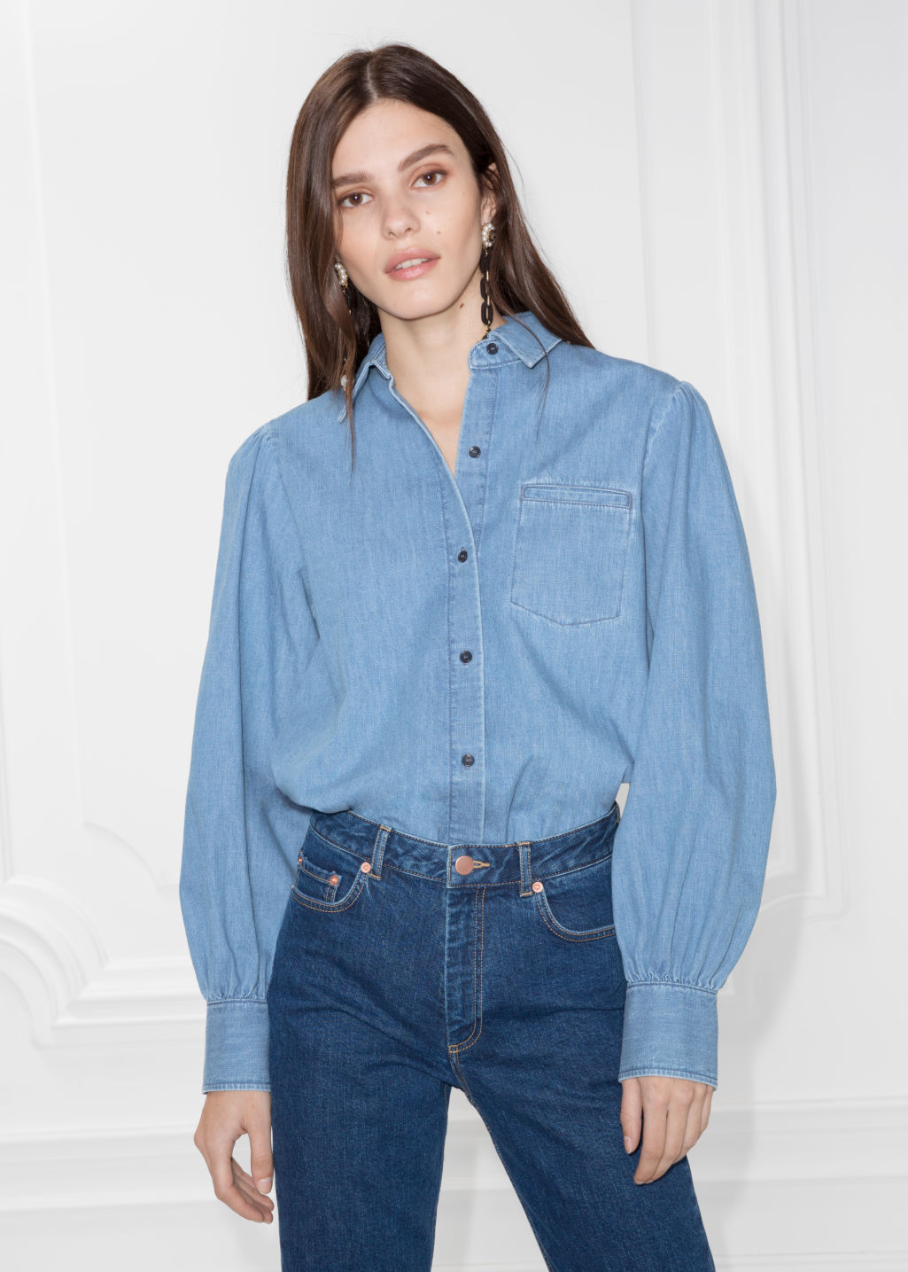 Model front image of Stories denim shirt in blue
