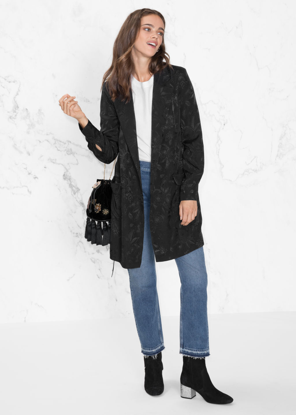 Model front image of Stories  long-line blazer in black