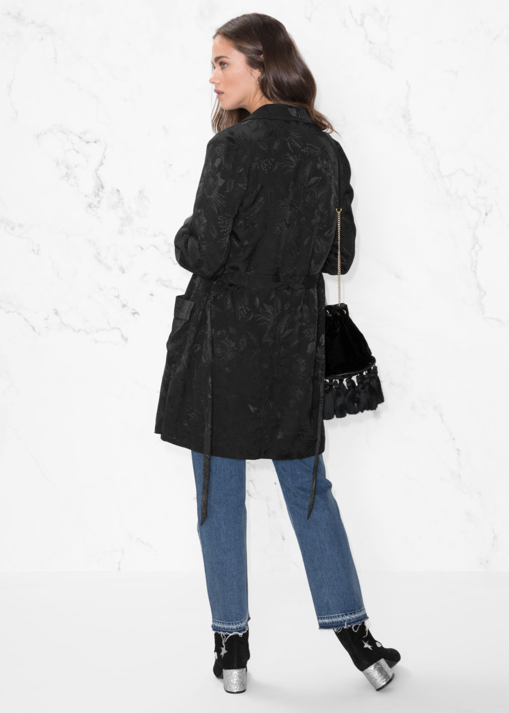 Model back image of Stories  long-line blazer in black