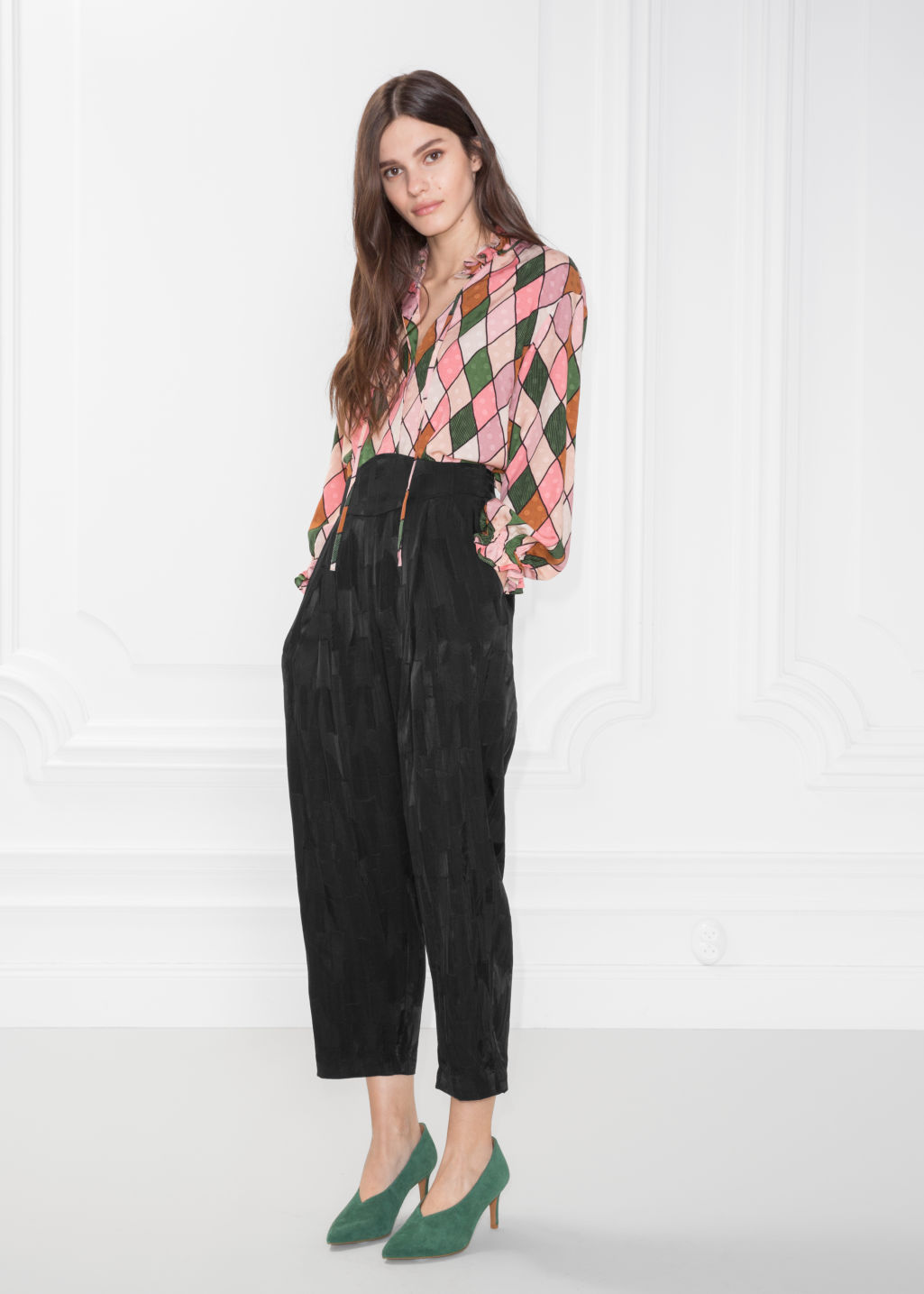 Model front image of Stories high waisted satin trousers in black