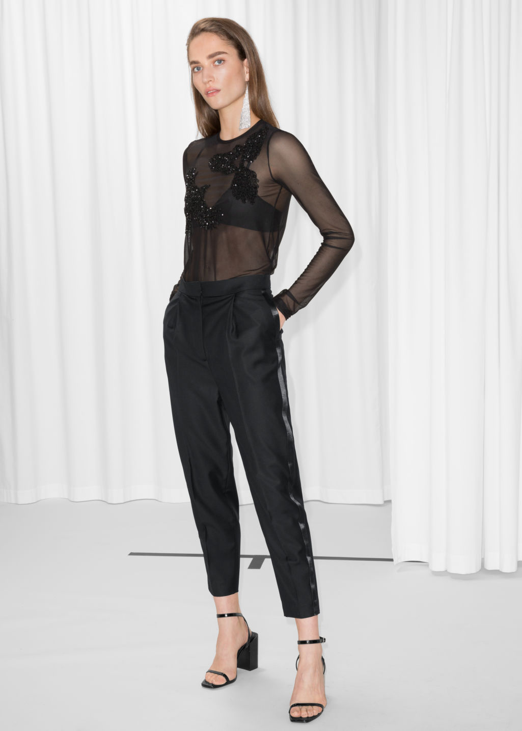 Model front image of Stories side satin panel trousers in black