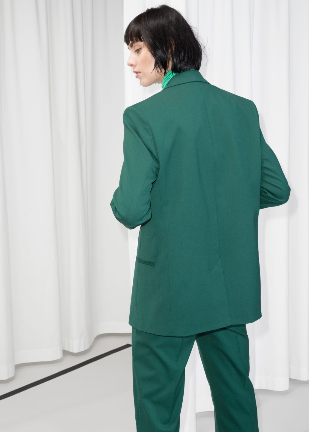 Model back image of Stories oversized wool-blend blazer  in green