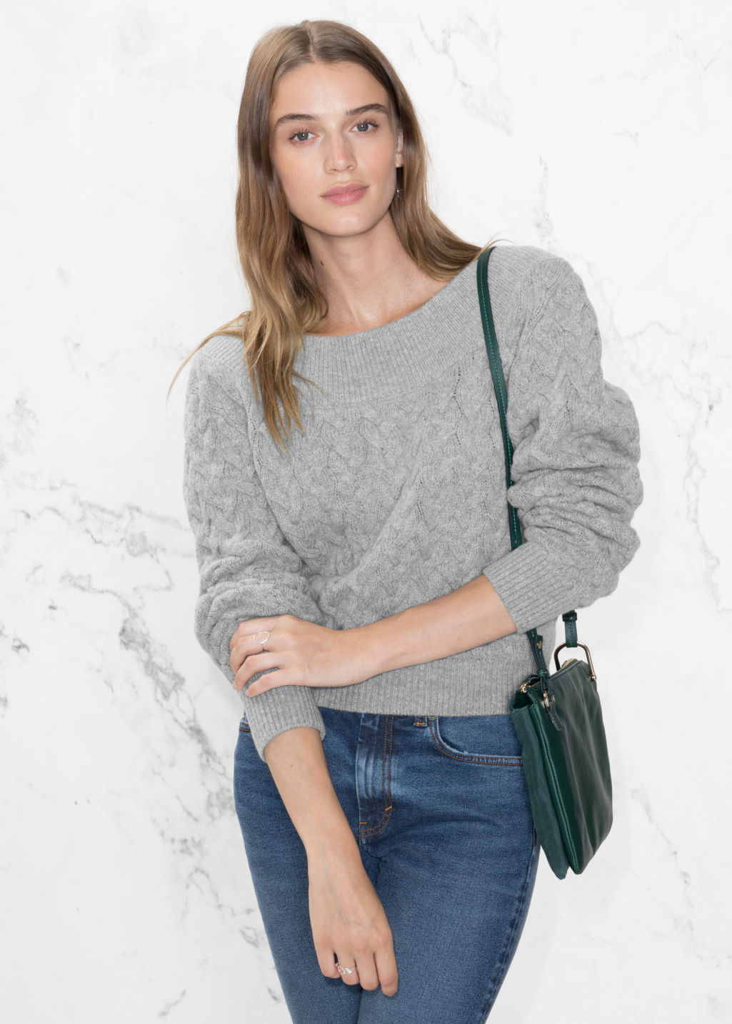 Model front image of Stories wool-blend cable-knit sweater in grey