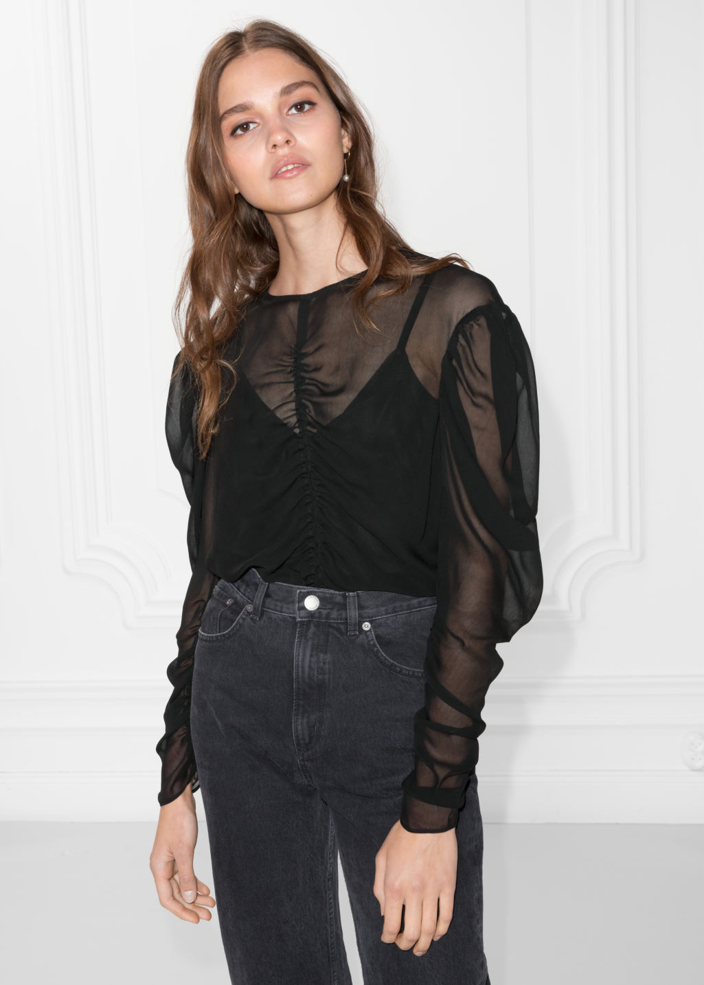 Model front image of Stories gathered chiffon top in black