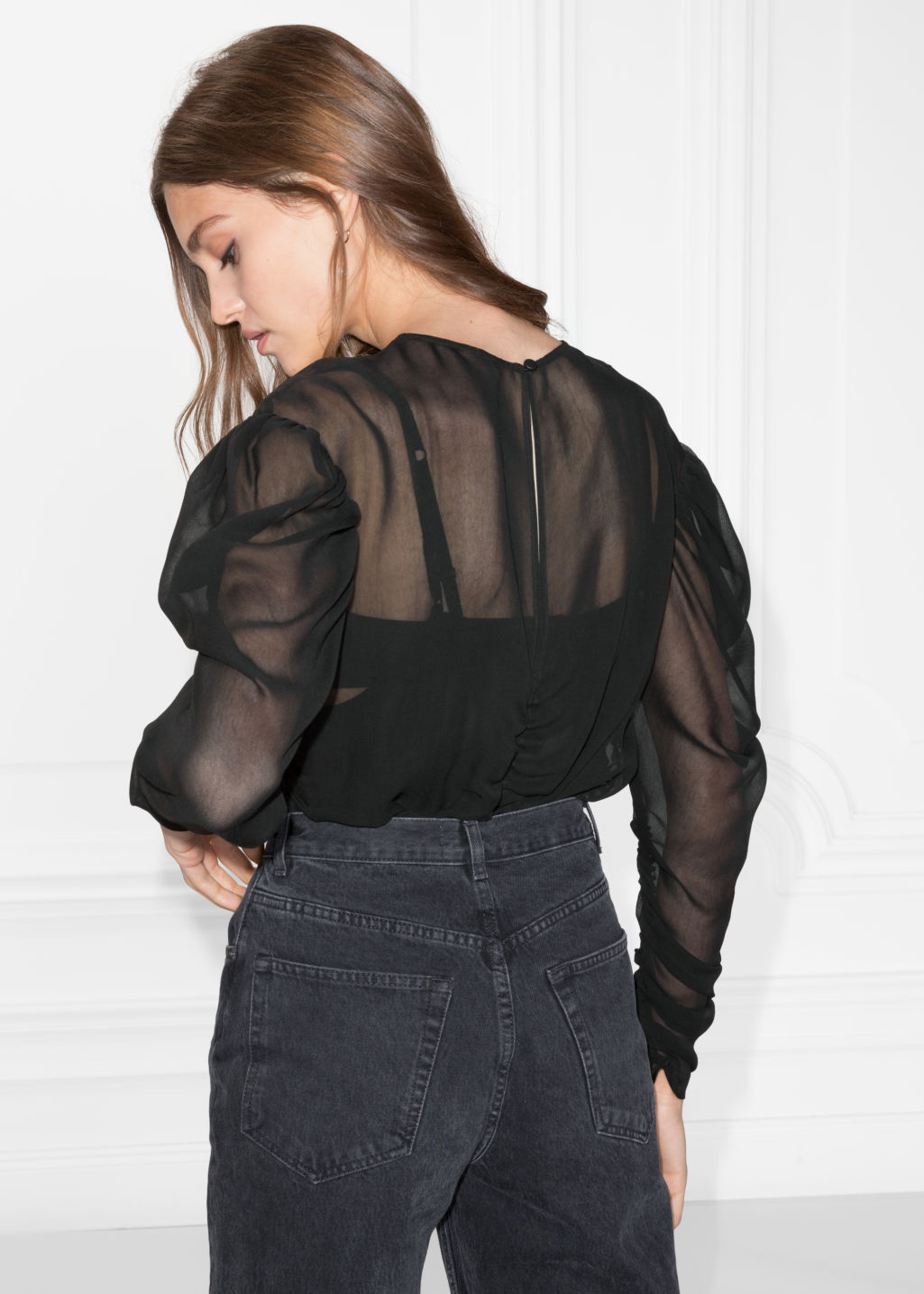 Model back image of Stories gathered chiffon top in black