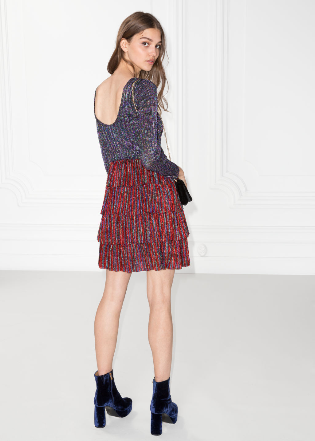 Model front image of Stories frills and glitter dress in red