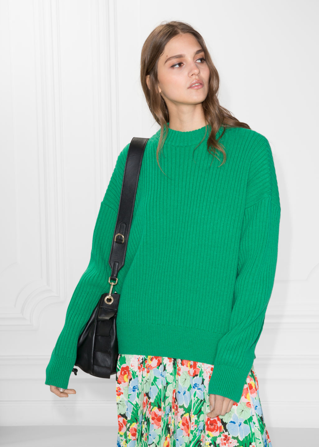Model front image of Stories oversized straight sweater in green