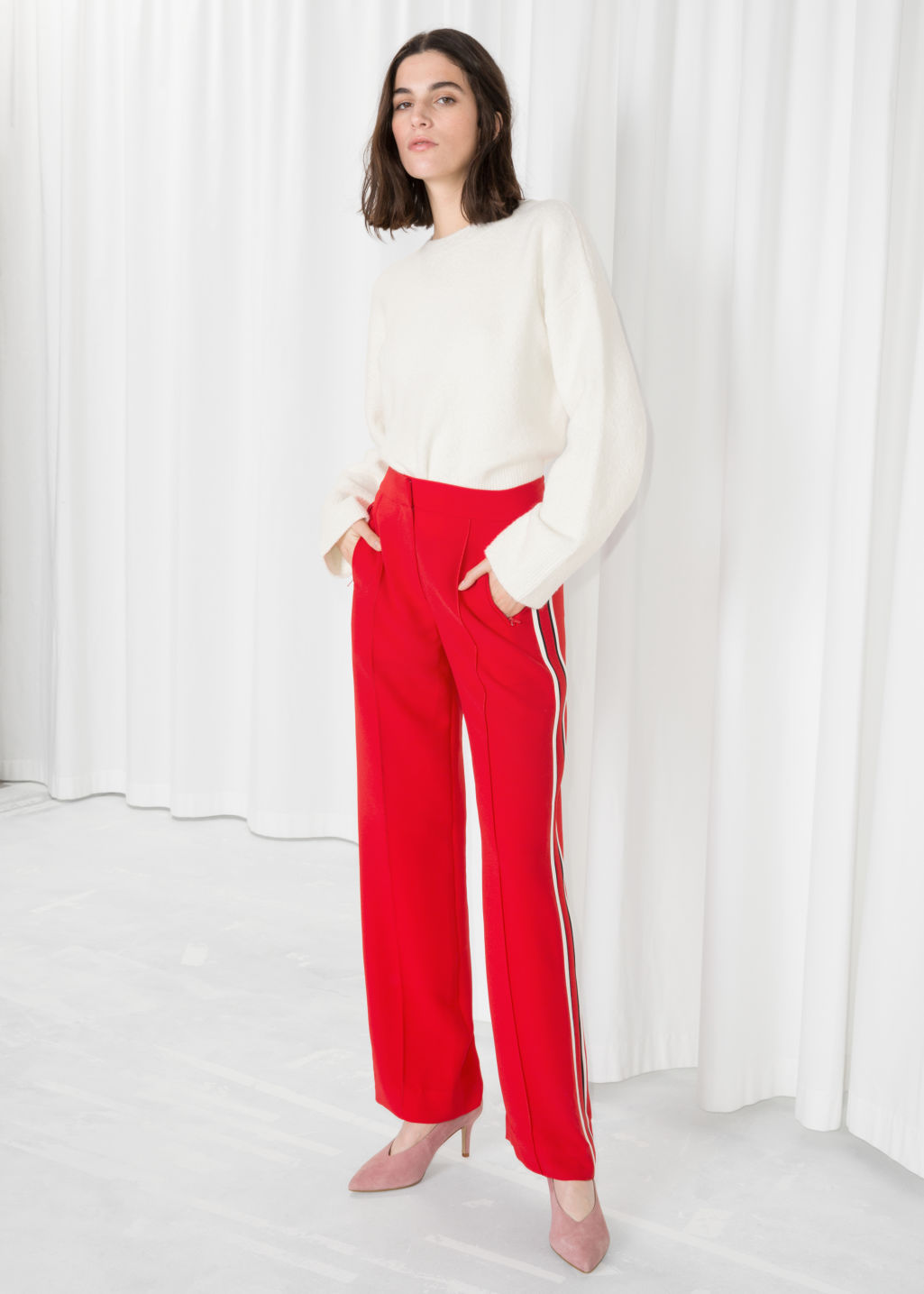 Model front image of Stories racer stripe trousers in red