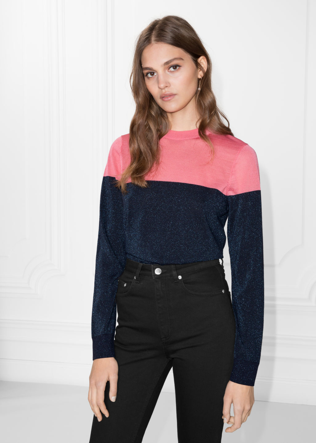 Model front image of Stories colour block sweater in blue