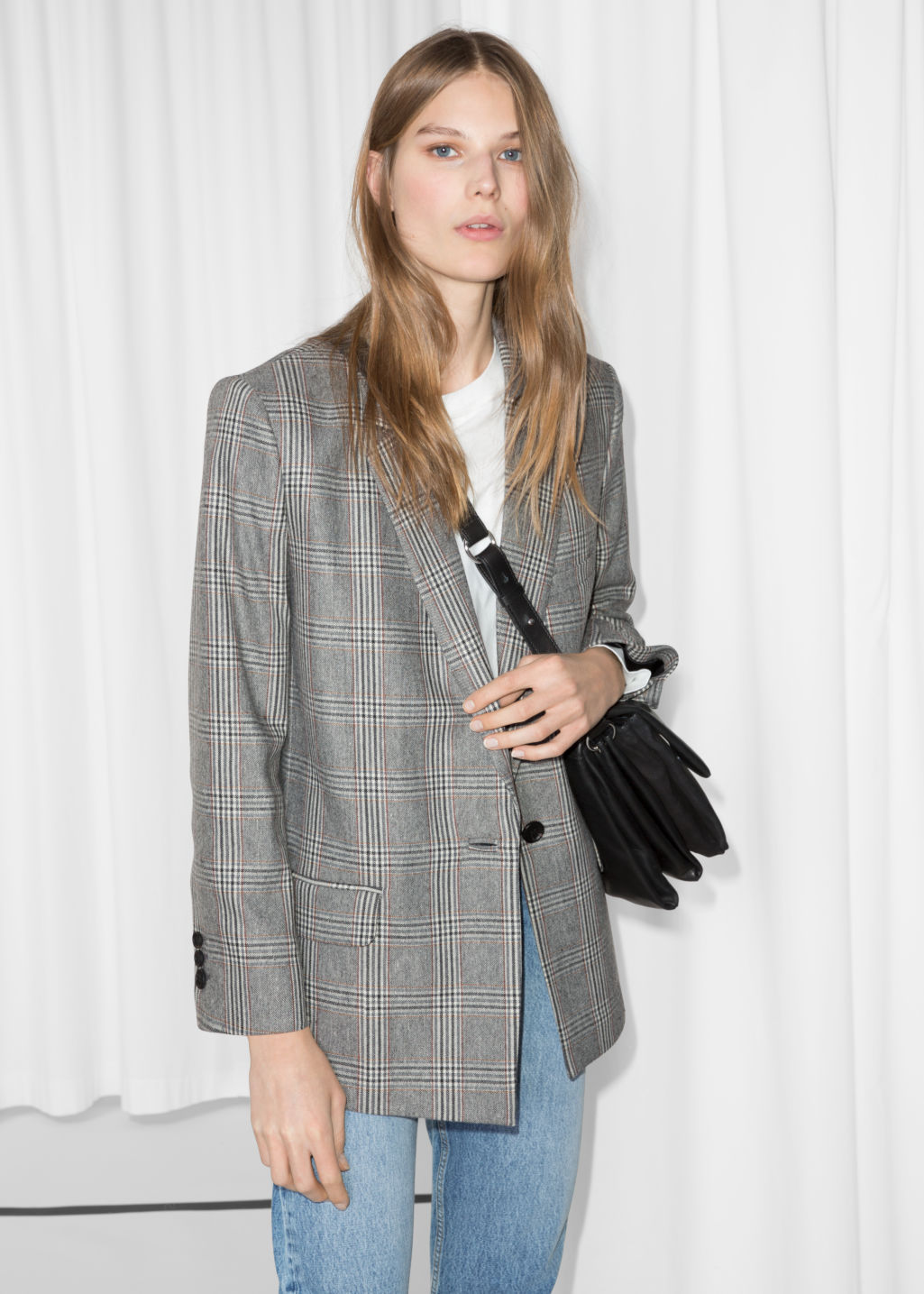 Model front image of Stories tapered blazer in grey