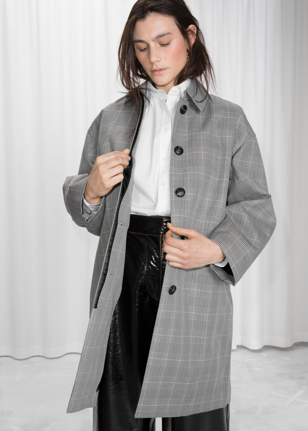 Model front image of Stories plaid cacoon coat in grey