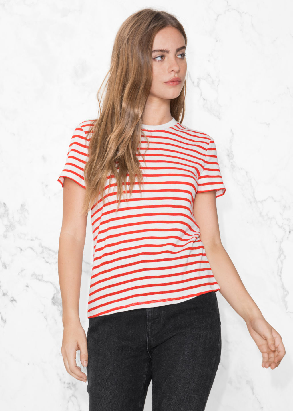 Model front image of Stories stripe cotton tee in red