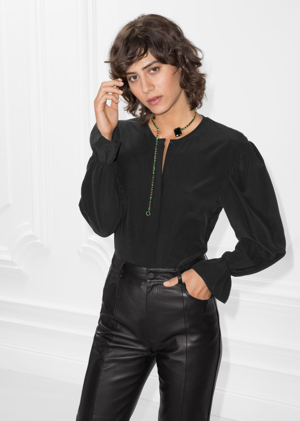 Model front image of Stories dropped shoulder silk blouse in black