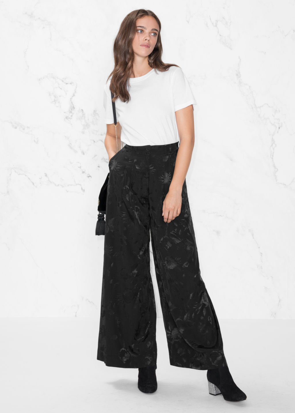 Model front image of Stories wide satin trousers in black