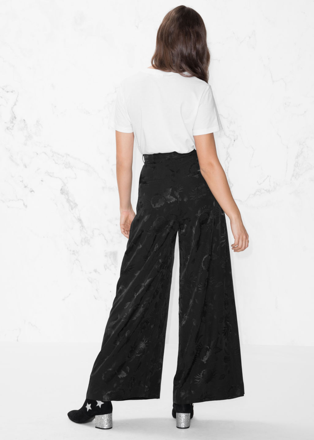 Model back image of Stories wide satin trousers in black