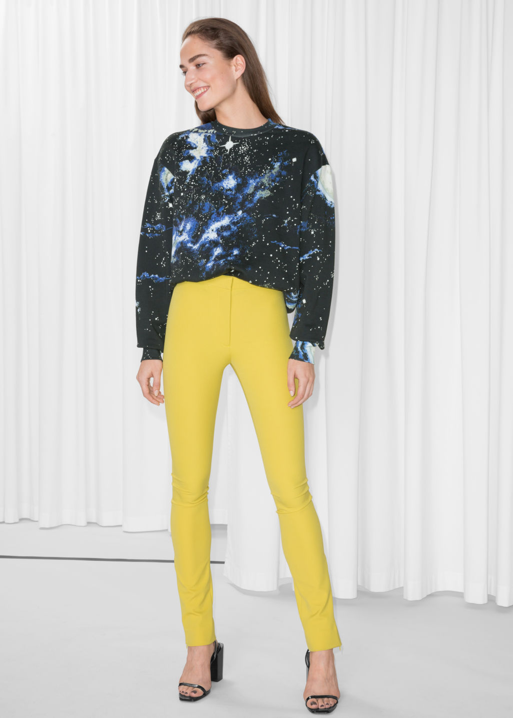 Model front image of Stories skinny trousers in yellow