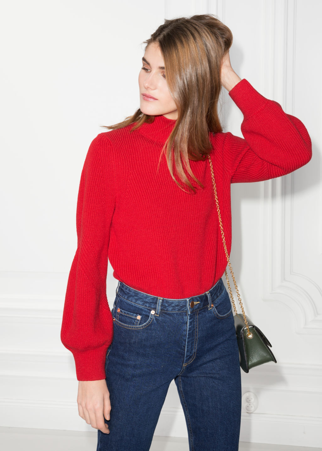 Model front image of Stories puffy sleeve sweater in red